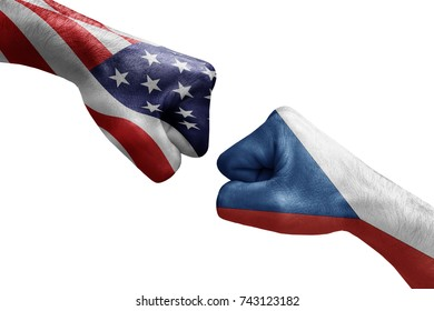conflict between USA vs Czech republic, male fists - governments conflict concept,  Flags written on hands USA, USA Flag, USA  counter, fists symbol war
