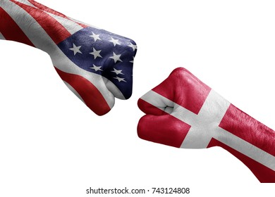 conflict between USA vs Denmark, male fists - governments conflict concept,  Flags written on hands USA, USA Flag, USA  counter, fists symbol war