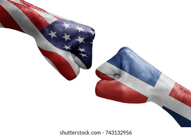 conflict between USA vs Dominican republic, male fists - governments conflict concept,  Flags written on hands USA, USA Flag, USA  counter, fists symbol war