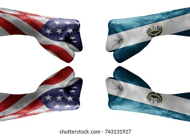 conflict between USA vs El salvador, male fists - governments conflict concept,  Flags written on hands USA, USA Flag, USA  counter, fists symbol war
