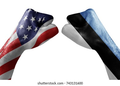 conflict between USA vs Estonia, male fists - governments conflict concept,  Flags written on hands USA, USA Flag, USA  counter, fists symbol war