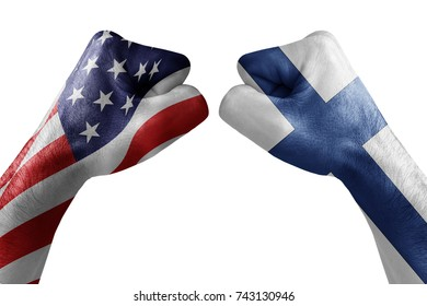conflict between USA vs Finland, male fists - governments conflict concept,  Flags written on hands USA, USA Flag, USA  counter, fists symbol war