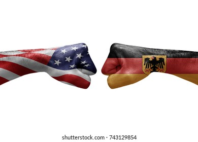 conflict between USA vs Germany, male fists - governments conflict concept,  Flags written on hands USA, USA Flag, USA  counter, fists symbol war