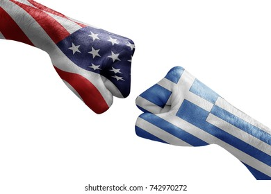 conflict between USA vs Greece, male fists - governments conflict concept,  Flags written on hands USA, USA Flag, USA  counter, fists symbol war