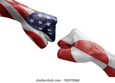 conflict between USA vs Greenland, male fists - governments conflict concept,  Flags written on hands USA, USA Flag, USA  counter, fists symbol war