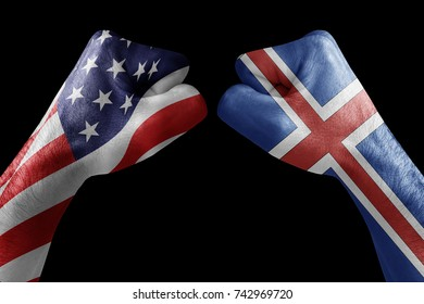 conflict between USA vs Icelan, male fists - governments conflict concept,  Flags written on hands USA, USA Flag, USA  counter, fists symbol war