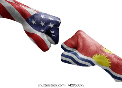 conflict between USA vs Kiribati, male fists - governments conflict concept,  Flags written on hands USA, USA Flag, USA  counter, fists symbol war