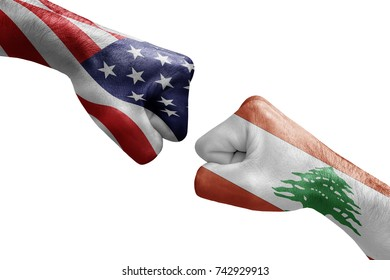 conflict between USA vs Lebanon, male fists - governments conflict concept,  Flags written on hands USA, USA Flag, USA  counter, fists symbol war