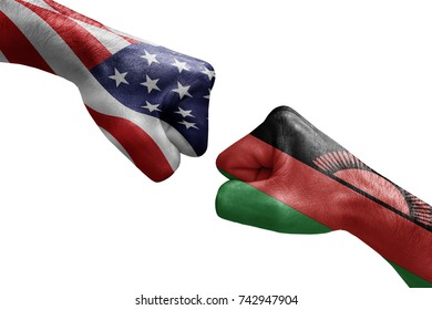 conflict between USA vs Malawi, male fists - governments conflict concept,  Flags written on hands USA, USA Flag, USA  counter, fists symbol war