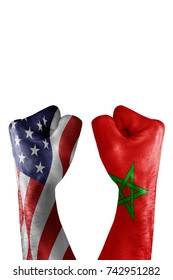 conflict between USA vs Marocco, male fists - governments conflict concept,  Flags written on hands USA, USA Flag, USA  counter, fists symbol war