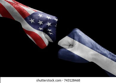 conflict between USA vs Nicaragua, male fists - governments conflict concept,  Flags written on hands USA, USA Flag, USA  counter, fists symbol war