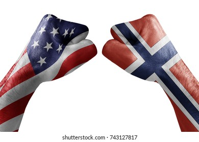 conflict between USA vs Norway, male fists - governments conflict concept,  Flags written on hands USA, USA Flag, USA  counter, fists symbol war