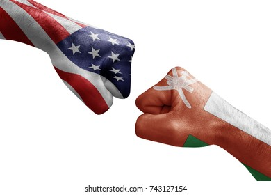 conflict between USA vs Oman, male fists - governments conflict concept,  Flags written on hands USA, USA Flag, USA  counter, fists symbol war