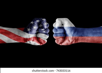 conflict between USA vs Russia, male fists - governments conflict concept,  Flags written on hands USA, USA Flag, USA  counter, fists symbol war