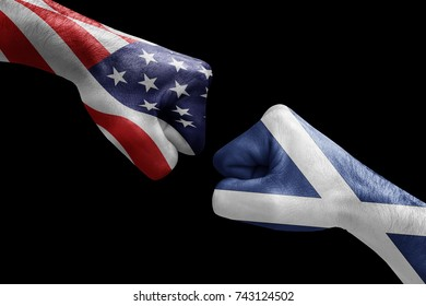 conflict between USA vs Scotland, male fists - governments conflict concept,  Flags written on hands USA, USA Flag, USA  counter, fists symbol war