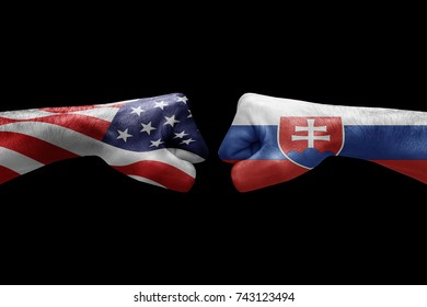 conflict between USA vs Slovakia, male fists - governments conflict concept,  Flags written on hands USA, USA Flag, USA  counter, fists symbol war