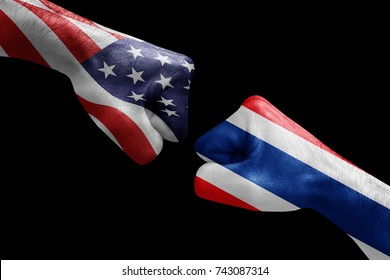 conflict between USA vs Thailand, male fists - governments conflict concept,  Flags written on hands USA, USA Flag, USA  counter, fists symbol war