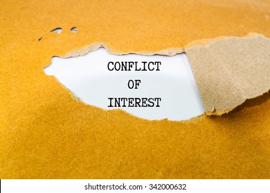 Conflict of interest text on brown envelope