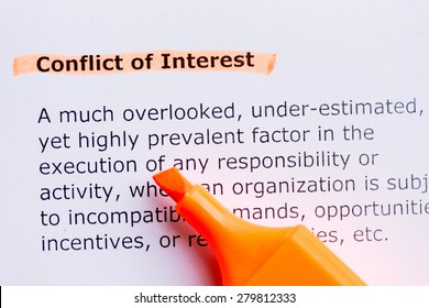 conflict of interest  word highlighted in the white background