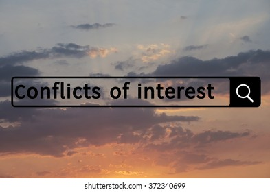 Conflict of interest written in search bar with the sunset visible in the background.