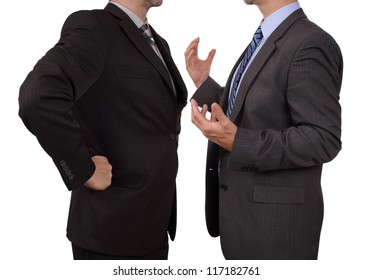 Conflict in office business executive arguing with his boss at meeting