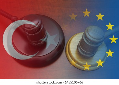 Conflict and sanctions between European Union and Turkey concept