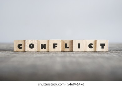 CONFLICT word made with building blocks