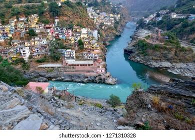 Confluence of Alaknanda and Bhagirthi rivers at Devprayag