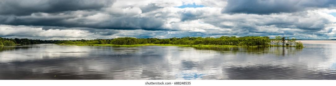 Confluence of the Amazon river and the Rio Maranon and Rio Ucayali
