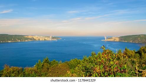 Confluence of Bosphorus and Black Sea in a sunny day, Anadolu Kavagi, Istanbul, Turkey