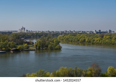 Confluence Danube and Sava rivers in Belgrade, Serbia. View from Kalemegdan fortress