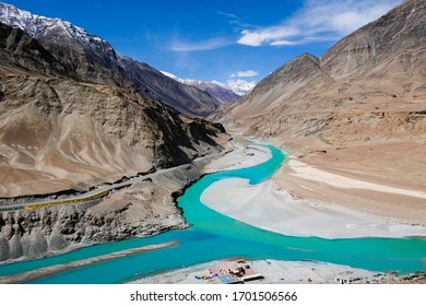 confluence of indus and zanskar river.