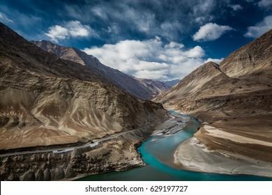 Confluence of Indus and Zanskar river at Nimu village in the Indian Himalaya. Ladakh, India