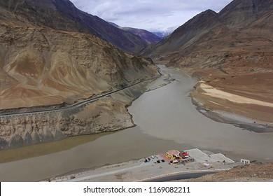 Confluence of Indus and Zanskar rivers, Ladakh, Jammu and Kashmir, India