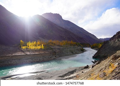 Confluence of the Indus and Zanskar Rivers are two different colors of water , between Kargil and leh,India.River in Leh Ladakh, India. 2 Rivers, Indus and Zanskar River .