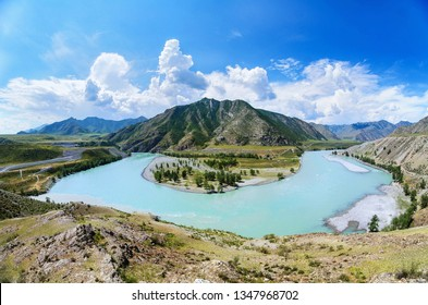 Confluence of Katun and Chuya rivers forming a horseshoe, Altai Republic