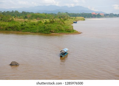 The confluence of the Mekong and Ruak rivers. Golden Triangle, the border of three countries: Thailand, Myanmar and Laos