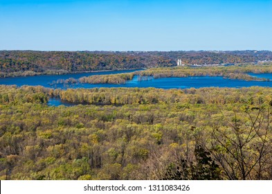 confluence of mississippi and wisconsin rivers viewed from atop bluffs of wyalusing state park in driftless region of wisconsin
