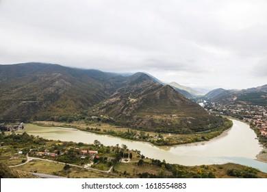 Confluence of the rivers Mtkwari and Aragwi, near Mzcheta, Georgia, Asia