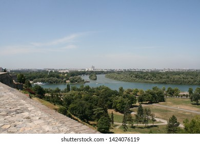The confluence of the rivers Sava and Danube, view from the fortress Kalemegdan. Serbia, Belgrade