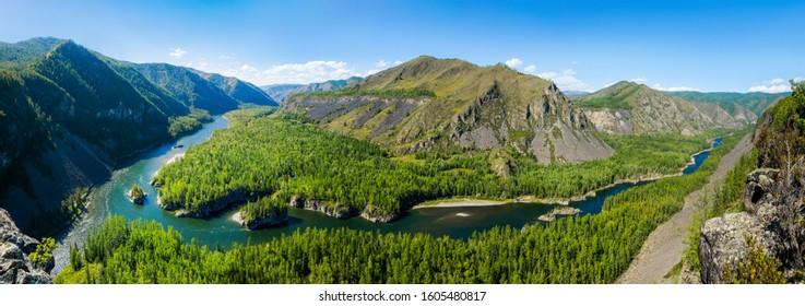 Confluence of the siberian mountain rivers Balyiktyig hem and Kyzil hem, Yenisei river source.