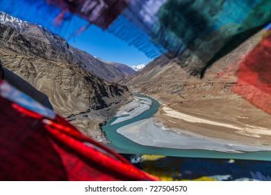 Confluence of Sindhu (Indus) and Zanskar Rivers near Leh, Ladakh