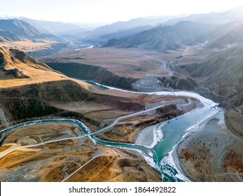The confluence of two rivers - Chuya and Katun, Altai republic, Russia. sunrise, sunset,