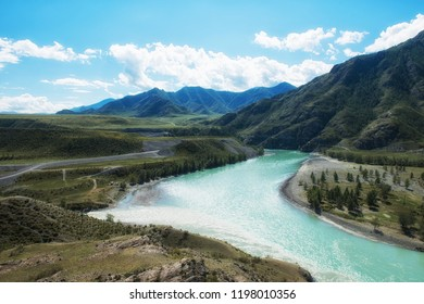 The confluence of two rivers, Katun and Chuya, the famous tourist spot in the Altai mountains, Siberia, Russia