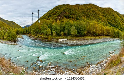 The confluence of two rivers - the White and Black Aragvi. Autumn.