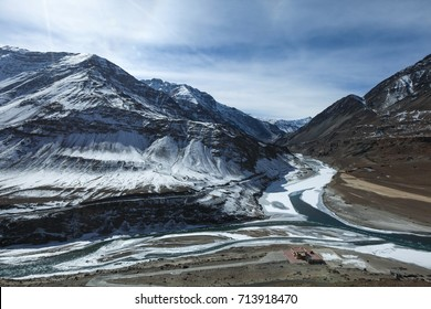 Confluence of Zanskar and Indus river during winter at Leh,Ladakh,Kashmir,India