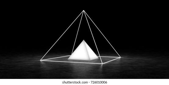 Conforming pyramids in a dark space. 3D Render