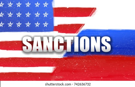 confrontation between Russia and the United States. flags Russia and the United States. Sanctions. Brush stroke background