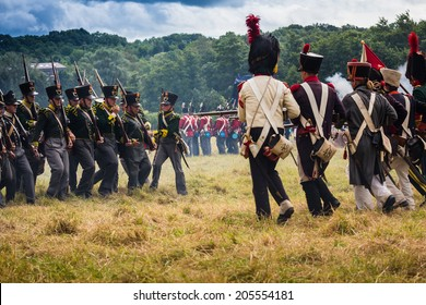 Confrontation at the reenactment of the Battle of Wavre 1815. This blocking action kept 33,000 French soldiers from reaching Waterloo. This battle helped the Allied forces defeat the French army.