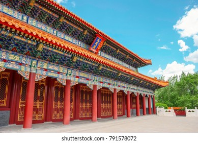 Confucian Temple. The Dacheng Hall in Temple of Confucius, located in Harbin City, Heilongjiang Province, China.